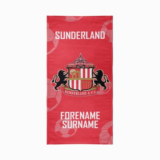 Personalised Sunderland AFC Crest Design Towel - 80cm x 160cm.