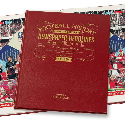 Arsenal Football Newspaper Book - A3 Luxury Leather Red Colour
