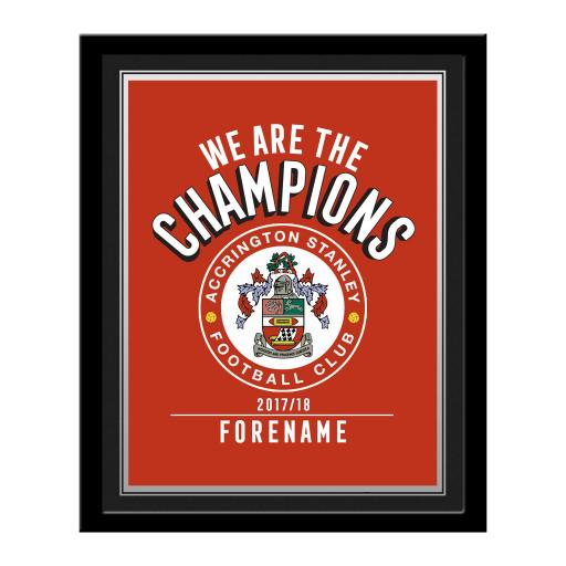 Accrington Stanley FC Champions Photo Framed