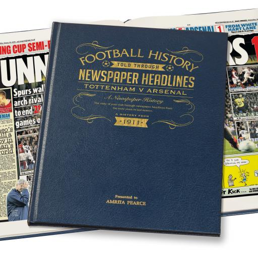 Spurs V Arsenal Derby Football Newspaper Book - A3 Luxury Leather Blue Colour