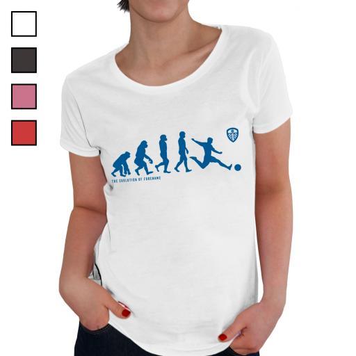 Personalised Leeds United FC Evolution Ladies T-Shirt.