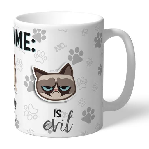 Grumpy Cat Emoji - Three Wise Cats Mug Grey