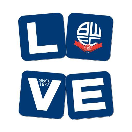 Bolton Wanderers Love Coasters (x4)