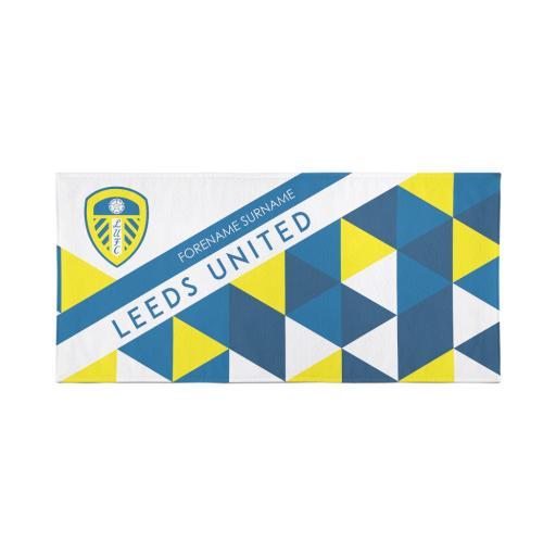 Personalised Leeds United Personalised Towel - Geometric Design - 70 x 140.