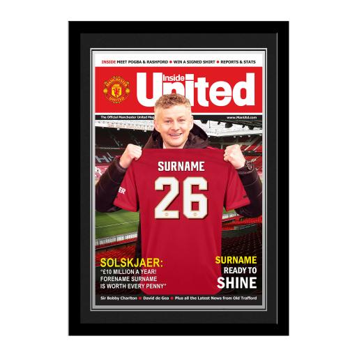 Manchester United FC Magazine Front Cover Photo Framed