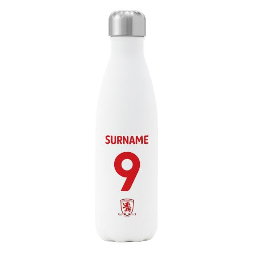 Personalised Middlesbrough FC Back of Shirt Insulated Water Bottle - White.