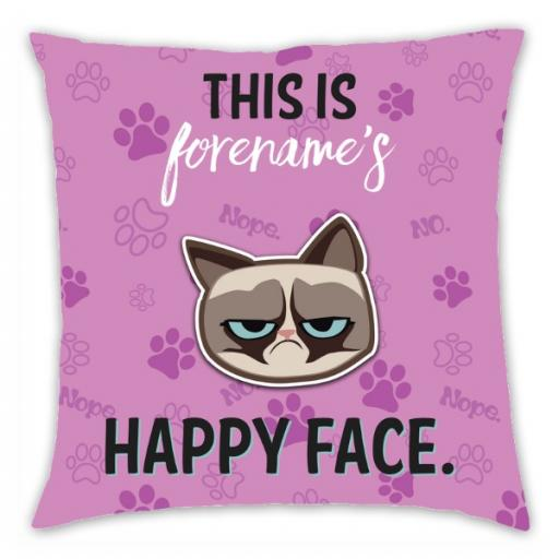 Grumpy Cat Emoji - Happy Face Cushion Pink