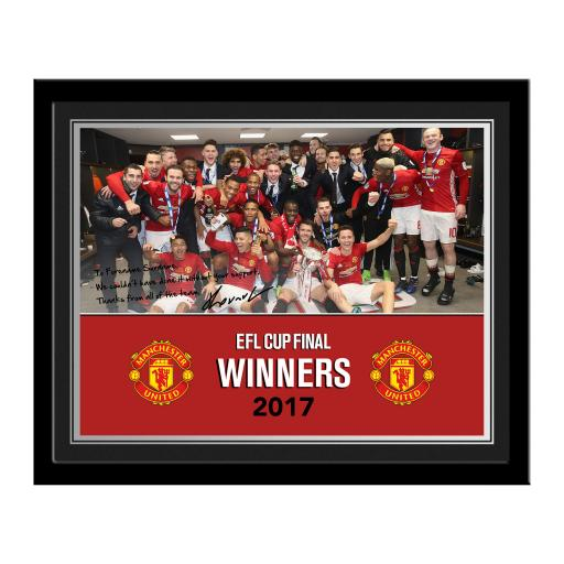 Personalised Manchester United FC EFL Cup Winners 2017 Photo Frame.