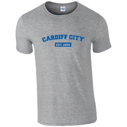 Personalised Cardiff City FC Varsity Established T-Shirt.