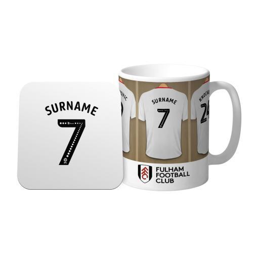 Personalised Fulham FC Dressing Room Mug & Coaster Set.