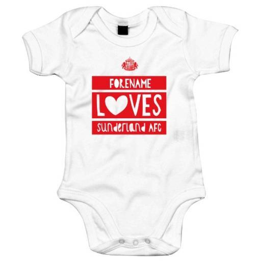 Personalised Sunderland AFC Loves Baby Bodysuit.