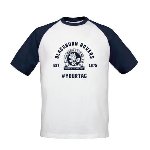 Personalised Blackburn Rovers FC Vintage Hashtag Baseball T-Shirt.