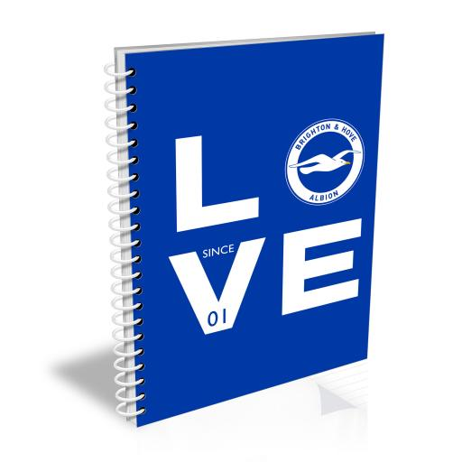 Personalised Brighton & Hove Albion FC Love Notebook.