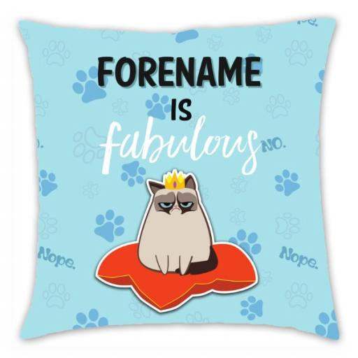 Grumpy Cat Emoji - Fabulous Cushion Blue
