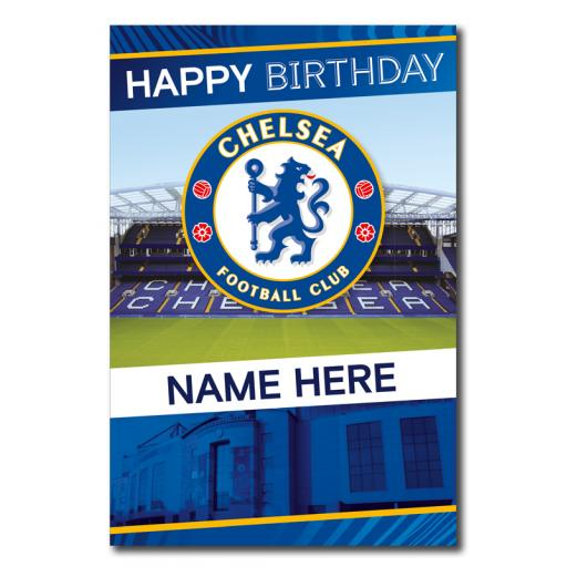 Chelsea Crest & Stadium Personalised Birthday Card