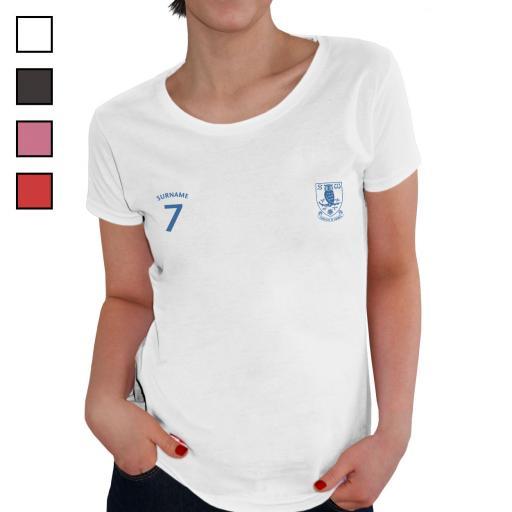 Personalised Sheffield Wednesday FC Ladies Sports T-Shirt.