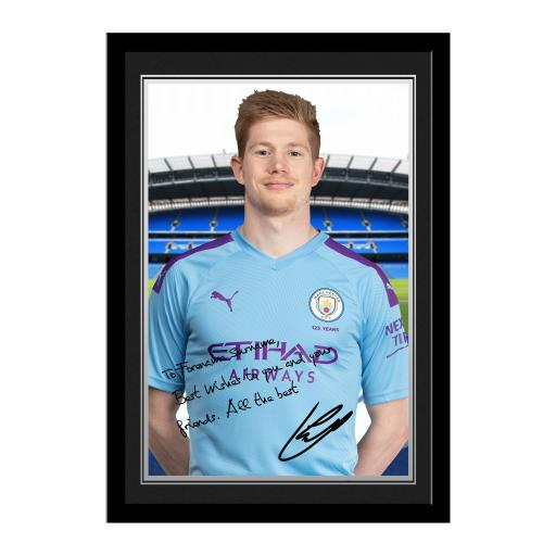 Manchester City FC De Bruyne Autograph Photo Framed