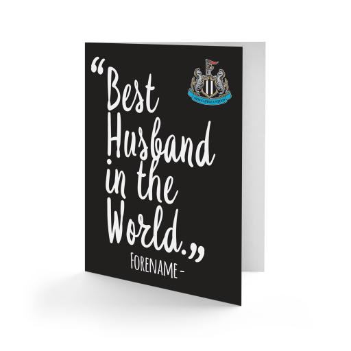Personalised Newcastle United FC Best Husband In The World Card.