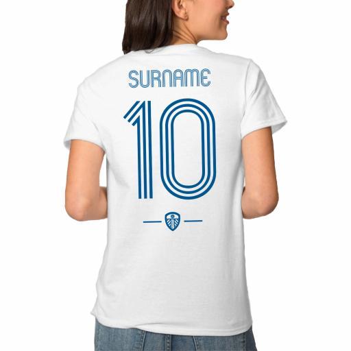 Personalised Leeds United FC Retro Shirt Ladies T-Shirt.