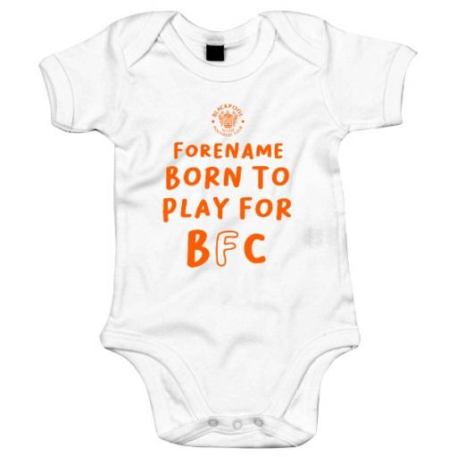 Personalised Blackpool FC Born to Play Baby Bodysuit.