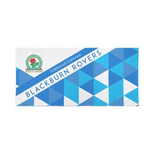 Personalised Blackburn Rovers Personalised Towel - Geometric Design - 70 x 140.