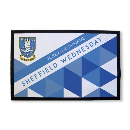 Personalised Sheffield Wednesday FC Patterned Door Mat.