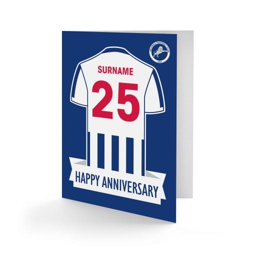 Personalised Millwall FC Shirt Anniversary Card.