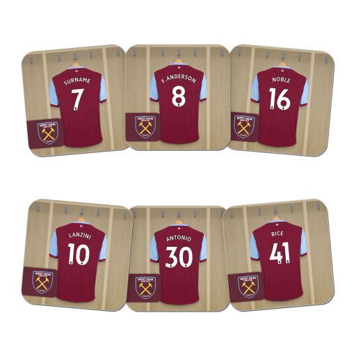 Personalised West Ham United FC Dressing Room Coasters.