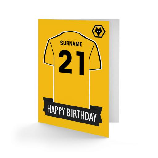 Personalised Wolves Shirt Birthday Card.