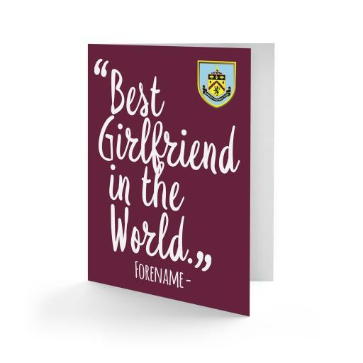 Burnley FC Best Girlfriend In The World Card