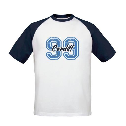 Personalised Cardiff City FC Varsity Number Baseball T-Shirt.