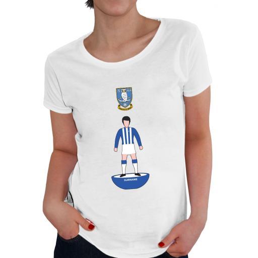 Personalised Sheffield Wednesday Player Figure Ladies T-Shirt.