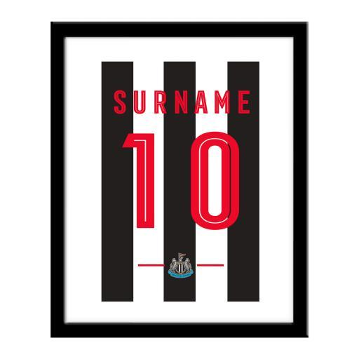 Personalised Newcastle United FC Retro Shirt Print.