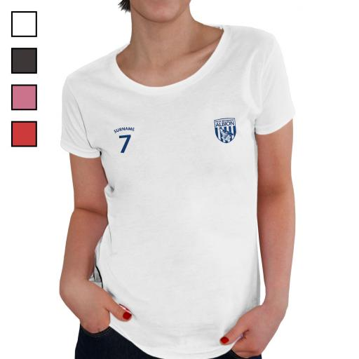 Personalised West Bromwich Albion FC Ladies Sports T-Shirt.