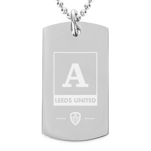 Personalised Leeds United FC Monogram Dog Tag Pendant.