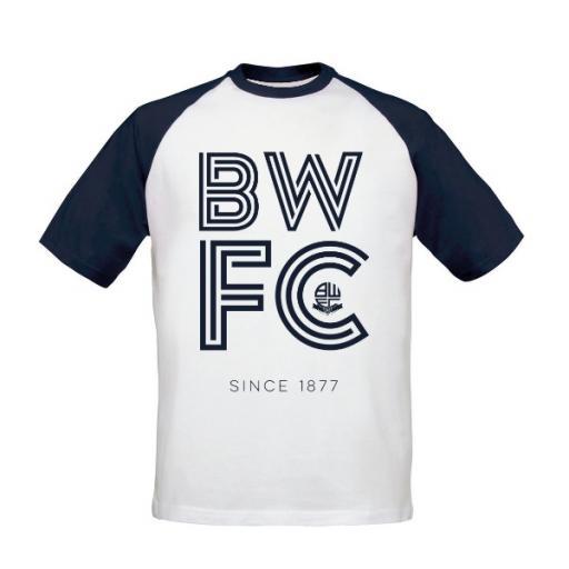 Personalised Bolton Wanderers FC Stripe Baseball T-Shirt.
