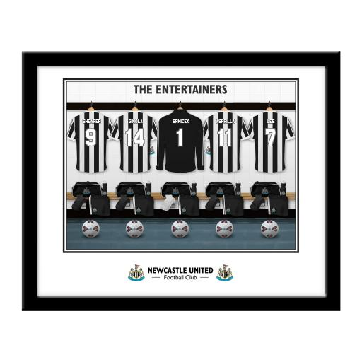 Personalised Newcastle United FC 'The Entertainers' Dressing Room Framed Print.