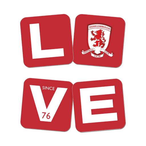 Personalised Middlesbrough Love Coasters (x4).