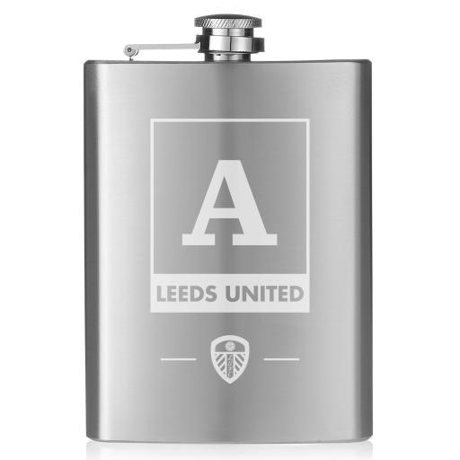 Personalised Leeds United FC Monogram Hip Flask.