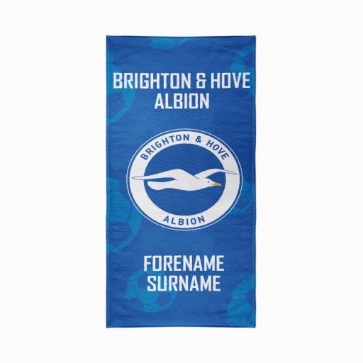 Personalised Brighton & Hove Albion FC Crest Design Towel - 70cm x 140cm.