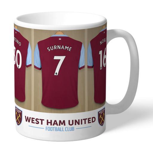 Personalised West Ham United FC Dressing Room Mug.