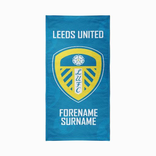 Personalised Leeds United FC Crest Design Towel - 80cm x 160cm.