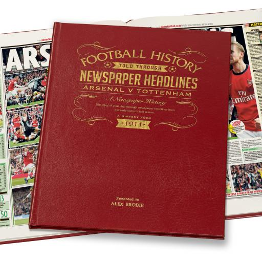 Arsenal V Spurs Derby Football Newspaper Book - A3 Luxury Leather Red Colour