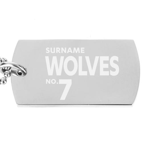 Personalised Wolves Number Dog Tag Pendant.