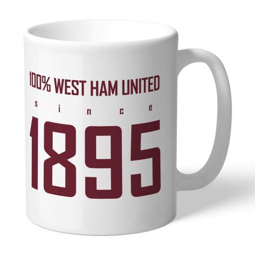 Personalised West Ham United FC 100 Percent Mug.