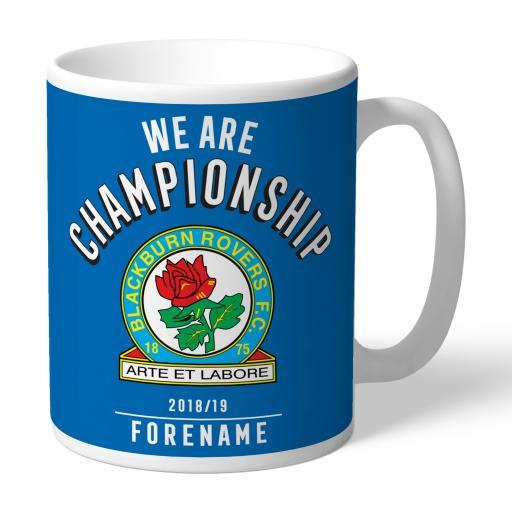 Personalised Blackburn Rovers FC We Are Championship Mug.