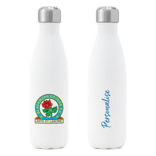 Personalised Blackburn Rovers FC Crest Insulated Water Bottle - White.