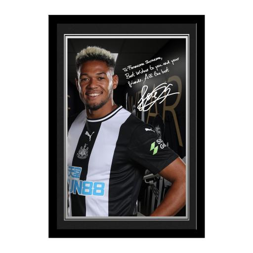 Personalised Newcastle United FC Joelinton Autograph Photo Framed.