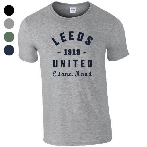 Personalised Leeds United FC Stadium Vintage T-Shirt.