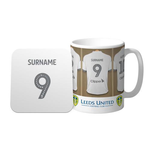 Personalised Leeds United FC Dressing Room Mug & Coaster Set.